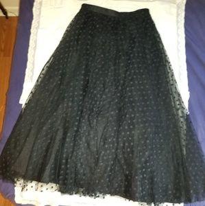 Elegant black dot lace over taffeta formal skirt